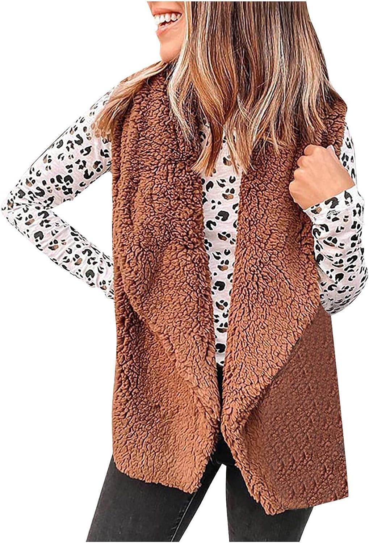 HGWXX7 Womens Vest Coat Plus Size Sherpa Lapel Faux Fur Open Front Waistcoat Jacket Fashion Sleeveless Winter Coats