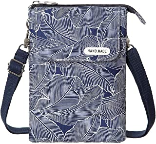 LassZone Fabric Crossbody Phone Bag Leaf Pattern Ladies Shoulder Purse Fresh and Elegant Daily Bag Four Colors Optional
