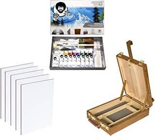 Master Artist Oil Paint Set Includes Wood Art Supply Carrying Case Sketchbox w/Easel & 5-Pack 12x16 Canvas Panels for Pain...