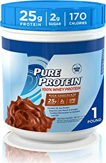 Natural Whey Protein Powder by Pure Protein, Gluten Free, Keto Friendly, Rich Chocolate, 1lb