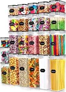 Airtight Food Storage Containers Set with Lids - Paincco 23pcs BPA Free Plastic Kitchen & Pantry Organization Canisters for Cereal, Flour & Baking Supplies, Include 40 Labels & 1 Marker, Black