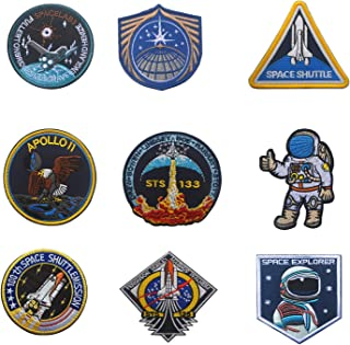 Astronaut Embroidery Decorate Morale Patch STS-133 Mission, STS135, Space Shuttle, Apollo 11 - Hook and Loop Back Hook,1