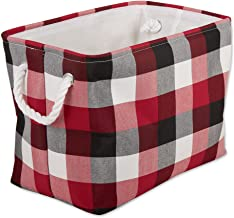 DII Buffalo Check Storage Collection Collapsible Bin with Handles, Medium, 16x10x12, Cardinal Red