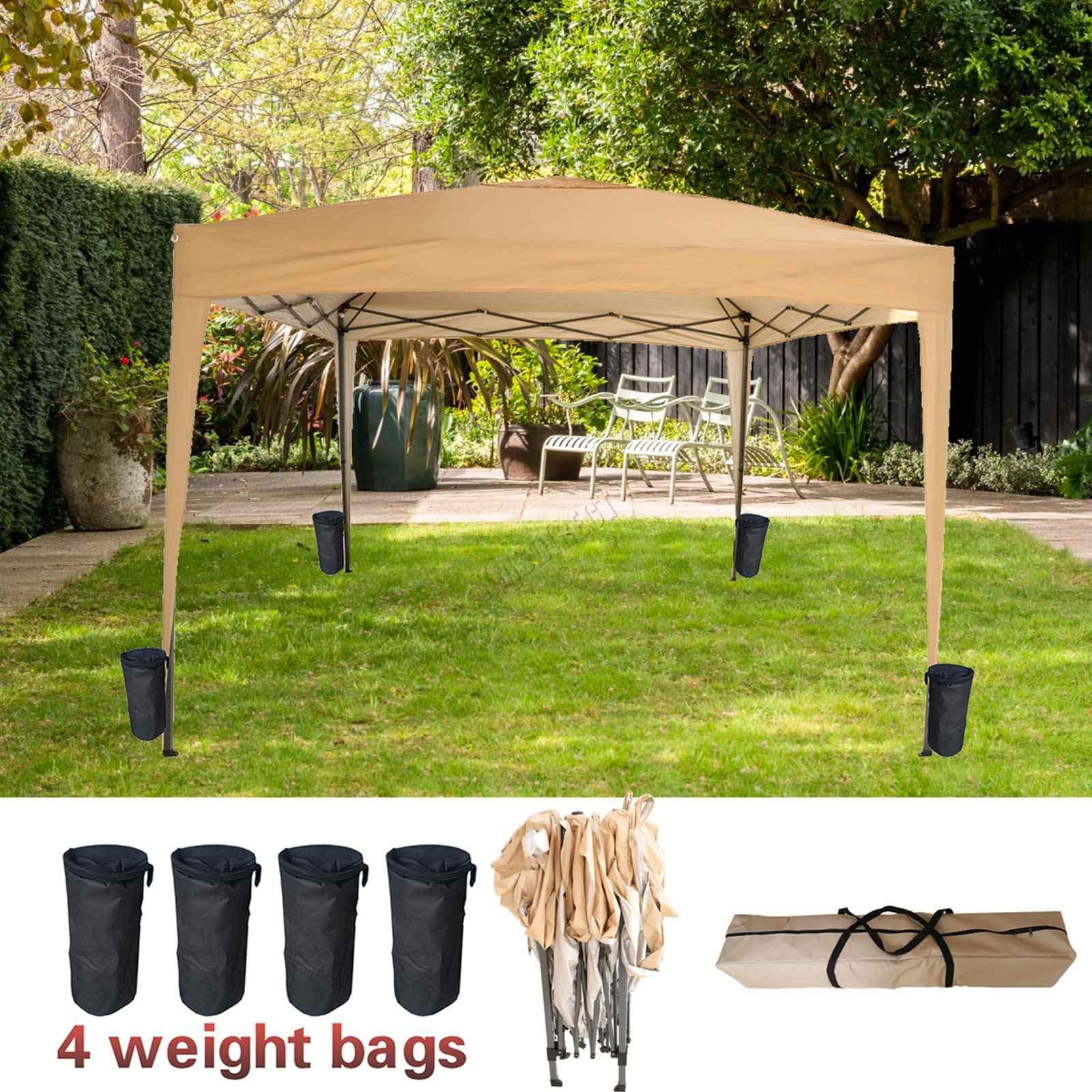 FoxHunter PUG02 - Carpa Impermeable de 3 m x 3 m, con Marco de Acero con Recubrimiento en Polvo de poliéster 300D, 4 Bolsas de Peso, Color Beige: Amazon.es: Jardín