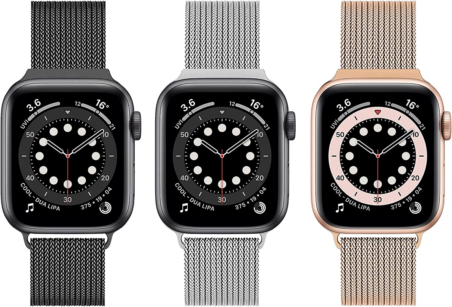 Latband Metal Magnetic Bands Compatible With Apple Watch Band 38 mm 40 mm 42 mm 44 mm, Stainless Steel Mesh Ring Metal Bands, Replaceable iWatch Apple Watch Bands Series 6/5/4/3/2/1/SE, 3 pieces