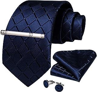 DiBanGu Plaid Tie Men's Silk Tie and Pocket Square Cufflinks Tie Clip Set Wedding Business