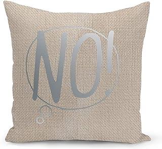 Speech Bubble No Beige Linen Pillow with Metalic Silver Foil Print Speech Set Couch Pillows