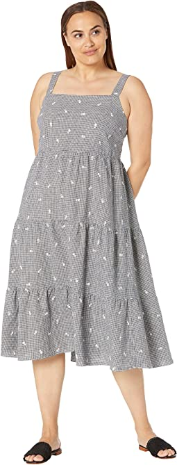 Flower Embroidered Tiered Midi Dress in Gingham Check