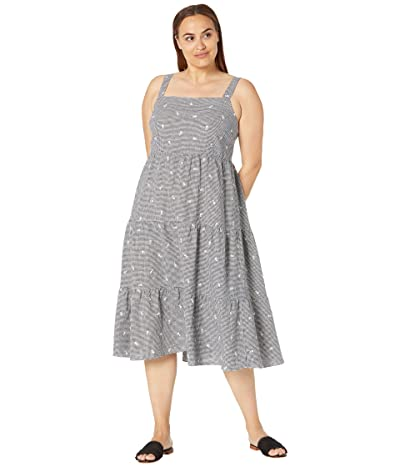 Madewell Flower Embroidered Tiered Midi Dress in Gingham Check