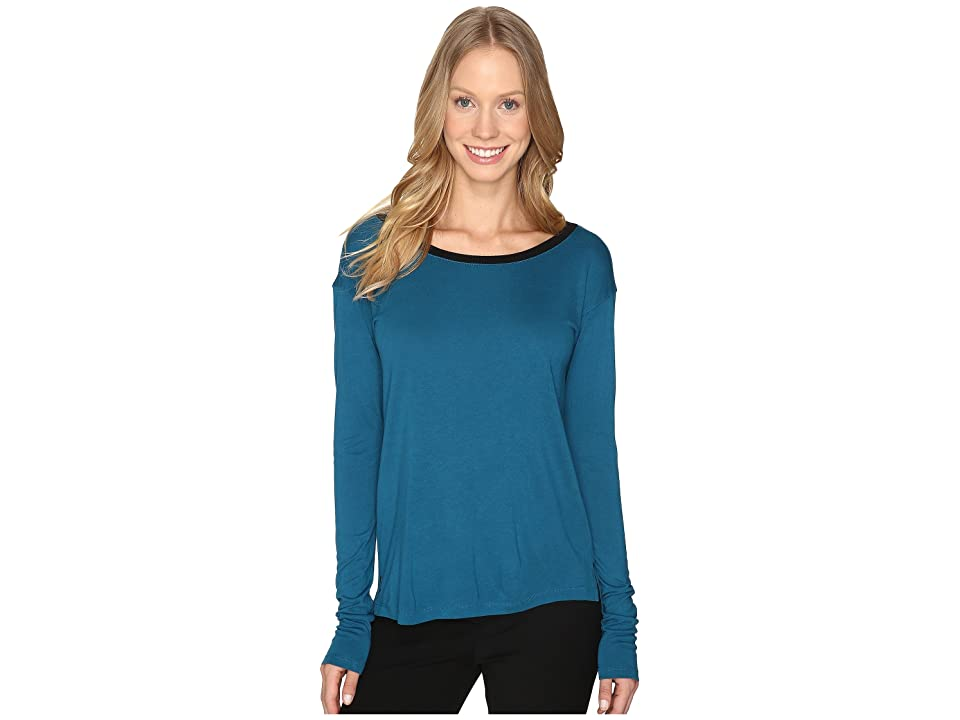 Calvin Klein Jeans V-Back Solid Long Sleeve Shirt (Electric Teal) Women