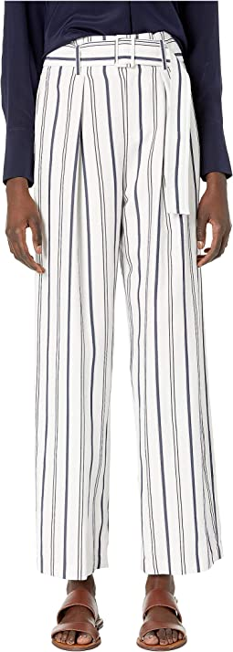 Dobby Stripe Belted Pants