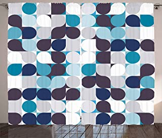Ambesonne Abstract Curtains, Retro Inner Circles Pattern with Squares Mosaic Style Old Fashion Print, Living Room Bedroom Window Drapes 2 Panel Set, 108 X 63, Grey Teal