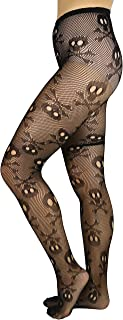 ToBeInStyle Women's Spooky Skull And Bones Fishnet Tights