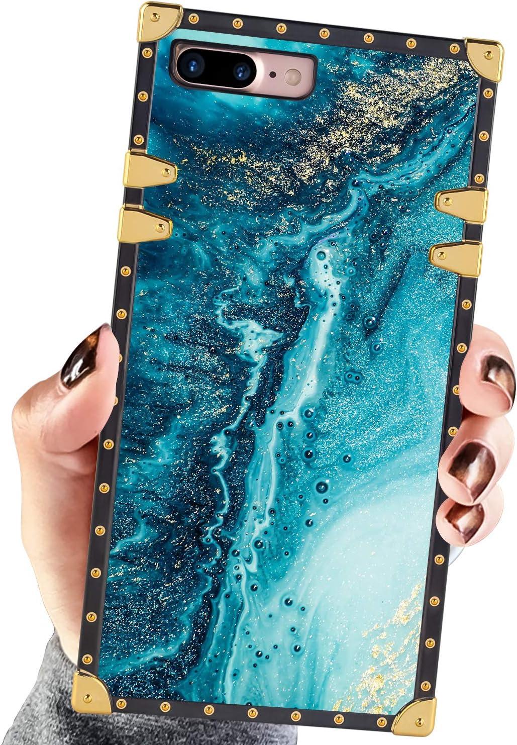 Square Case Compatible iPhone 7 Plus iPhone 8 Plus Case Blue Gold Marble Luxury Elegant Soft Shock Protection Case Cover Compatible iPhone 7 Plus/8 Plus 5.5 Inch