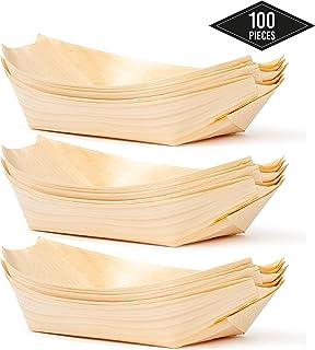 100 Platos de Bambú en Forma de Botes Desechables. 22x11cm - Ecológicos, Biodegradables - Cuencos de Postre de Aperitivo Fiestas Cumpleaños Bodas Picnics y Más.