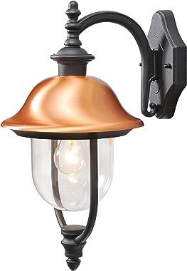 MW-Light 805020201 Applique Extérieure Design Rustique en Métal Noir Abat-jour en Cuivre et Acrylique pour Jardin Terrasse IP