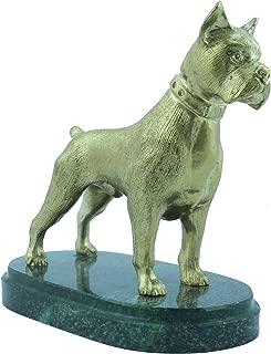 CTOC Dog Boxer Bronze statue Handmade Figurine on natural Ural rock Original paperweight Super Present and Home Decoration