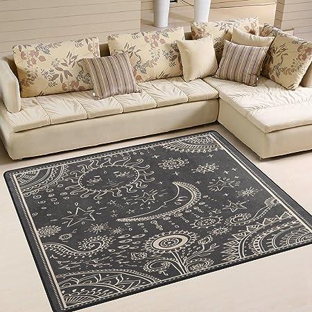 Amazon Com Alaza Vintage Moon Sun Star Sunflower Area Rug Rugs For Living Room Bedroom 5 3 X 4 Furniture Decor