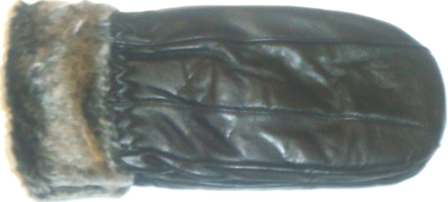Glv432 Black Leather Women's Fashion Mittens with Rabbit Fur S M