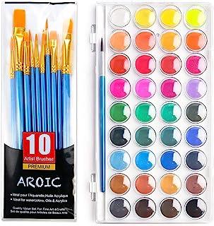 ست برس آبرنگ AROIC ، با رنگ آبرنگ ، 36 رنگ , و بسته ای از 10 برس با اندازه های مختلف ، بهترین هدیه برای مبتدیان ، کودکان و دوستداران هنر.