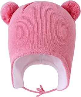 Toddler Infant Winter Hat with Earflap Knit Warm Beanie Fleece Lined Hat for Baby Boys Girls