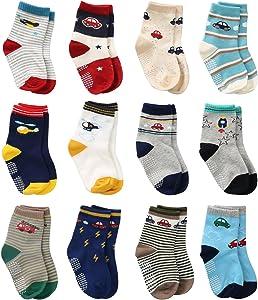 Wobon12 Pares de Calcetines Antideslizantes para Niños Pequeños Algodón Lindo con Puños, Calcetines Antideslizantes para Bebés Diseños al Azar