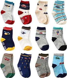 12 Pares de Calcetines Antideslizantes para Niños Pequeños Algodón Lindo con Puños, Calcetines Antideslizantes para Bebés Diseños al Azar