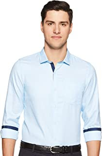 Excalibur by Unlimited Men's Solid Regular Fit Synthetic Formal Shirt