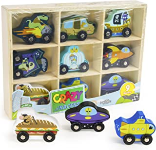 Imagination Generation Crazy Racers Wooden Car Vehicle Set in Wood Storage Tray, 9 Wacky Characters