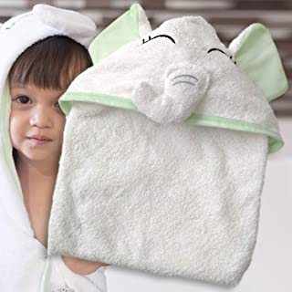 Baby Sophia Hooded Baby Towel - White Elephant Organic Bamboo Cotton | Boys & Girls, Babies and Toddlers | Naturally Soft & Fluffy | Elephant Baby Stuff, Baby Towels with Hood, a New Born Essential