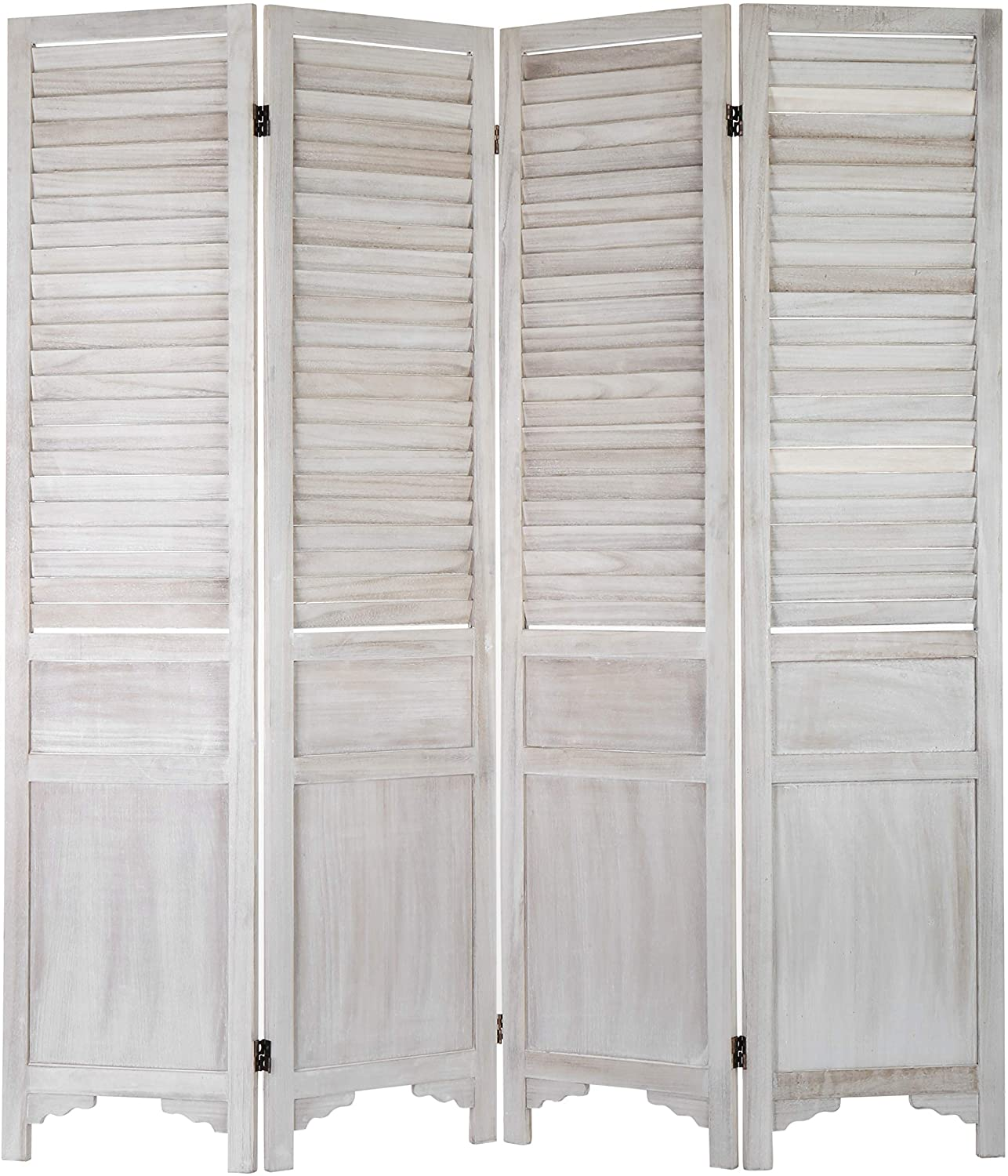 MyGift 4-Panel Vintage White Popular brand in the world Wood New sales Divider Room Screen Louvered w