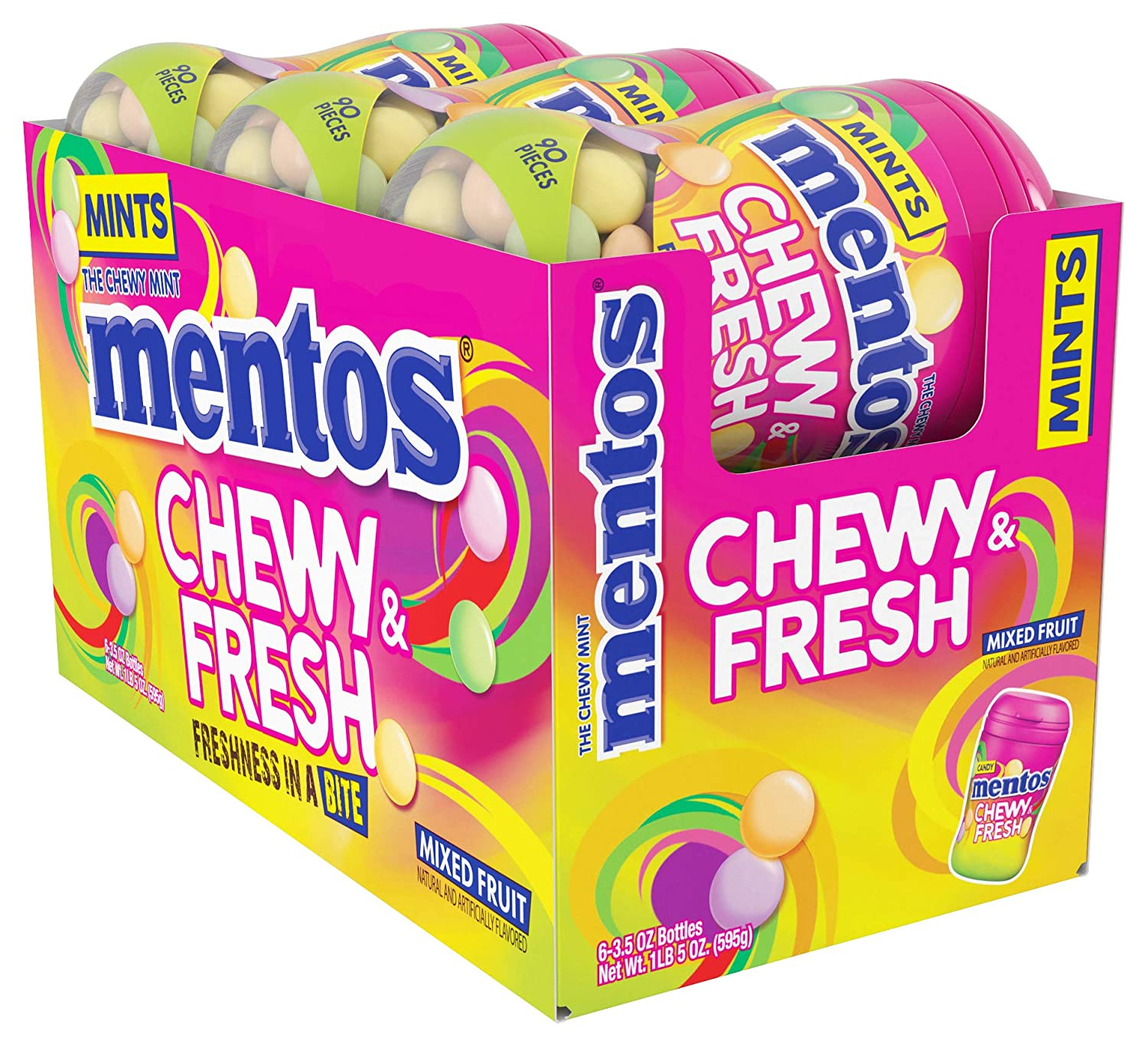 Mentos Tampa Mall Chewy Fresh Breath Mints Max 84% OFF Mixed Candy Fruit 6ct