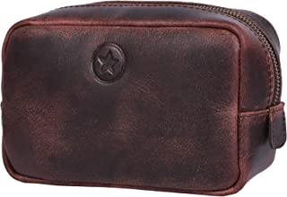 Aaron Leather Goods Leather Toiletry Bag for Men and Women Brown (Walnut)