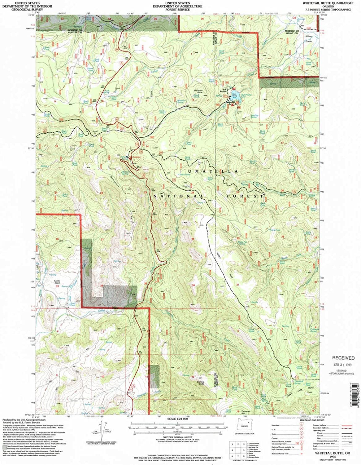Whitetail Butte OR topo map, 1 24000 Scale, 7.5 X 7.5 Minute, Historical, 1995, Updated 1998, 26.8 x 22 in