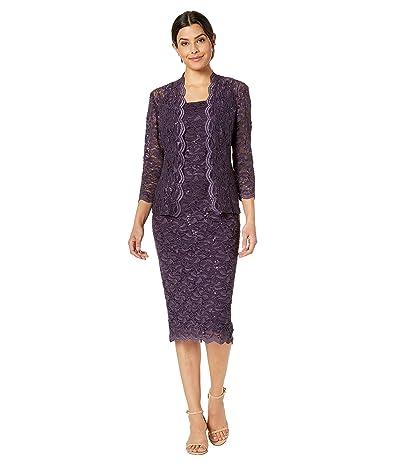 Alex Evenings Tea Length All Over Sequin Lace Jacket Dress (Eggplant) Women