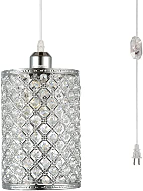 HMVPL Plug in Pendant Lighting Fixtures with Long Hanging Cord and Dimmer Switch, Modern Crystal Hanging Chandelier Sparkly Swag Ceiling Lamp for Kitchen Island Dining Table Bed-Room Girls Closet