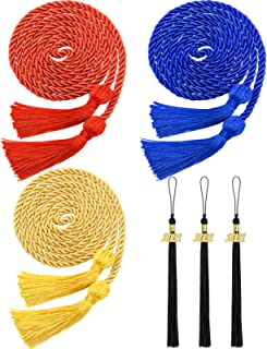 6 Pieces Graduation Cord Honor Cord and Tassels with 2021 Year Gold Charm for Caps Graduation Bachelor