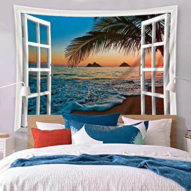 Riyidecor Beach Sunrise Tapestry Wall Hanging Hawaiian Tropical 60Hx80W Inch Window Ocean Sunset Seaside Scenery Landscape Wa