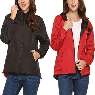 Meaneor Womens Rainwear Waterproof Lightweight Hooded Rain Coats Windbreaker,S-XXL
