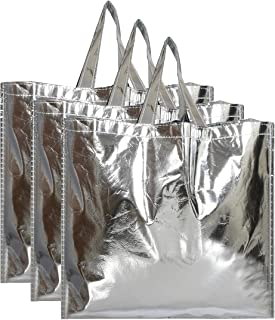 Kuber Industries Reusable Large Size Grocery Bag Shopping Bag with Handle, Non-Woven Gift Bag Goodies Bag Silver Tote Bag-...