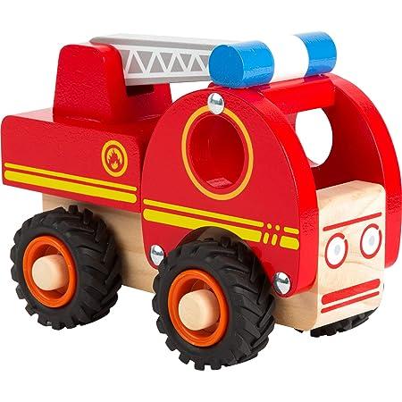 small foot 11075 Camion de pompiers en bois, facile d'accès, avec roues caoutchoutées, à partir de 18 mois