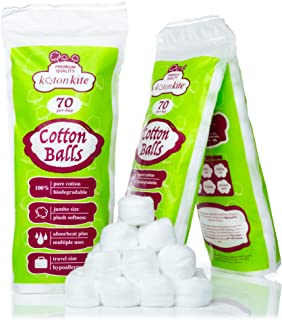 Jumbo Cotton balls - 210 ct (3 packs of 70) - Premium Quality, 100% Biodegradable, Super Soft & Absorbent. Use for nail po...