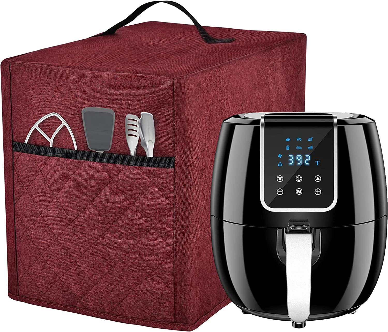 Air Fryer Dust Online limited product Cover with 3 Pocket Accessory burgundy Max 60% OFF FIT FOR