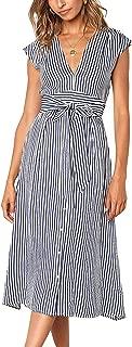 Womens Striped Button Down Bohemian Spaghetti Floral Dress Tie Waist Sleeveless Swing Midi Dress