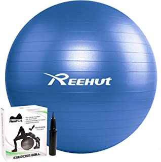 Reehut Exercise Ball for Fitness, Stability, Balance & Yoga - Workout Guide & Quick Pump Included - Anti Burst Professional Quality Design ( 55cm 65cm 75cm)