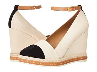 Tory Burch Color Block 105 mm Ankle (Cream/Perfect Black/Desert Camel) Women