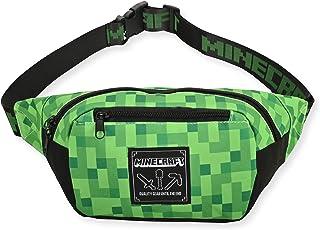 Boys Minecraft Fanny Pack Bag -Black and Green Minecraft Creeper Face Fanny Pack Bag, Adjustable - (Unisex, Black Green)