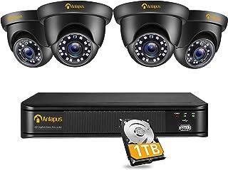 Anlapus CCTV Kit de Cámaras de Vigilancia Exterior 8CH 2MP H.265+ DVR con (4) Cámara de Seguridad, IR Visión Nocturna, Ala...
