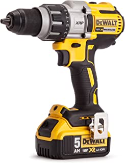 DeWalt 18V 13 Heavy duty Premium Drill Driver, 2 x 5.0Ah batteries, charger and kit box, Yellow/Black, DCD991P2-GB, 3 Year...