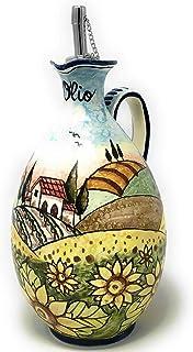 CERAMICHE D'ARTE PARRINI- Ceramica italiana artistica, ampolla olio decorazione paesaggio girasoli, dipinto a mano, made i...